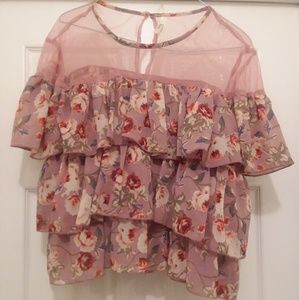 Womens Truth NYC Ruffled Floral Top Sz Large